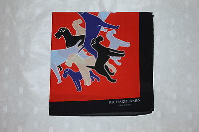 Richard James Savile Row Cotton Dog Print Pocket Square