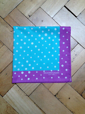 BN Richard James Savile Row Lilac and Light Blue Spotted Pocket Square