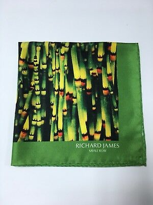 Richard James Savile Row Lime Green Bamboo Print Silk Pocket Square