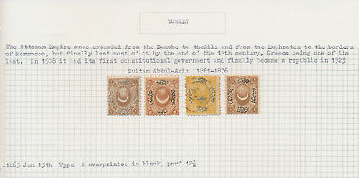Turkey Stamps 1865-1889, 5 Album Pages Of Early Issues Vf: Js Craig Coltn