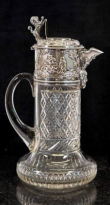 Victorian Fine Silver Plated Claret Jug with Lion Clear Cut Glass Silver Plated