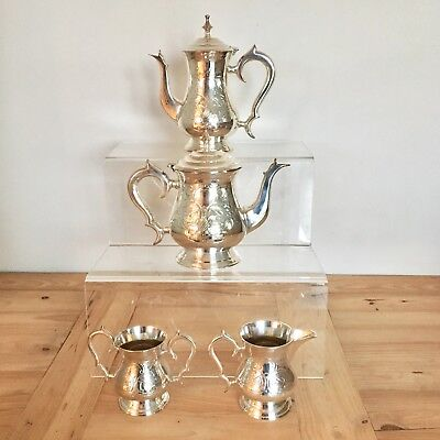 4 Piece Silver Plate Tea Coffee Milk Sugar Set With Stylised Handle & Spout