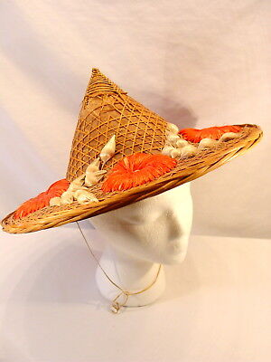 "Rare 15"" Vintage Antique Chinese Oriental Asian Coolie Straw Wicker Bamboo Hat"