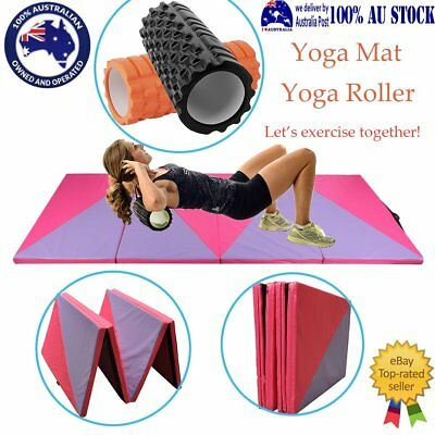 Grid Foam Yoga Roller Physio Massage & GYMNASTICS FOLDING EXERCISE YOGA MAT BO