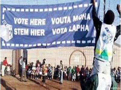 Nelson Mandela Original 1994 South African Election Banner, Museum Quality