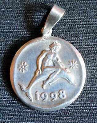 Greek Ilias Lalaounis 1998 Lucky Charm Pendant Dolphin Riding Sterling Silver