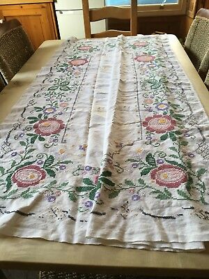 Beautiful Hand Embroidered Vintage Square Linen Table Cloth