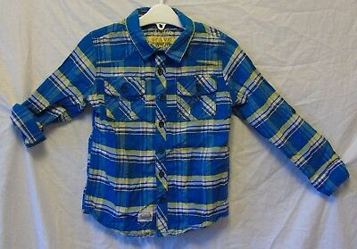 Boys F&F Blue Yellow Check Adjustable Long Sleeve Casual Shirt Age 4-5 Years