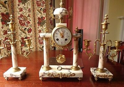1850 Japy Freres French Marble & Ormolu Mantel Clock with Candlestick Garniture
