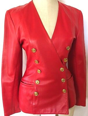 VTG North Beach Leather Michael Hoban Red Leather Jacket W/ Gold Buttons SZ 3/4