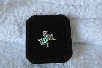 RARE ANTIQUE / ART DECO 14ct GOLD FROG RING, NATURAL TURQUOISE AND RUBY EYES