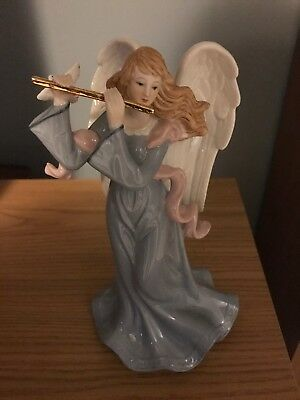 Angel Music Box - Porcelain Blue Angel Figurine Holding a Dove  & Flute...