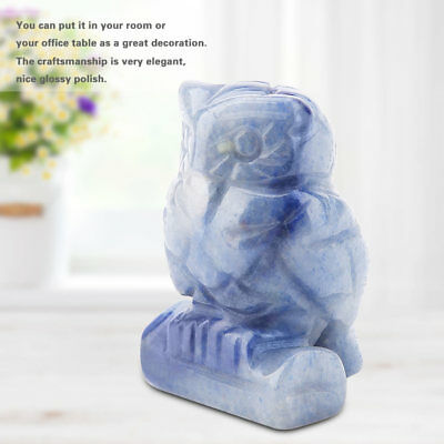 Carved Owl Statue Figurine Natural Jade Stone Lucky Crystal Table Ornament Gift