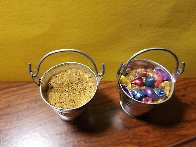 DollHouse Miniature Accessory Silver Metal Tin Bucket With Sand and small Shells