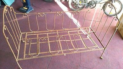 Original c1800's Antique French Iron Day Bed/Cot