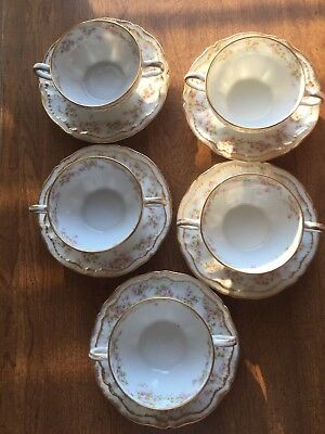 Theodore Haviland Limoges 5 Sets Cups & Saucers Pink Rose Double Gold 2 Handled