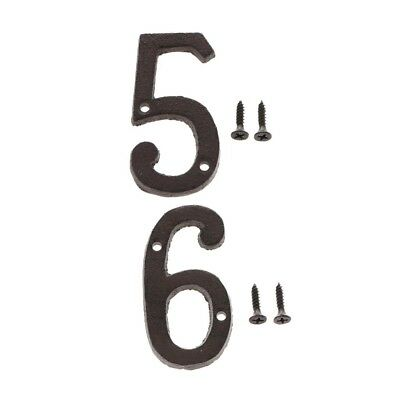 5 &6 Wrought Iron House Address Numbers Numerals,with Screws Black