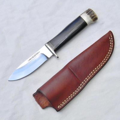 MORSETH 1993 hand-made Hunter-Skinner knife ebony/stag handle; orig sheath RARE!