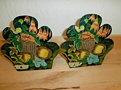 Vintage pair of painted metal bookends country basket fruit flowers