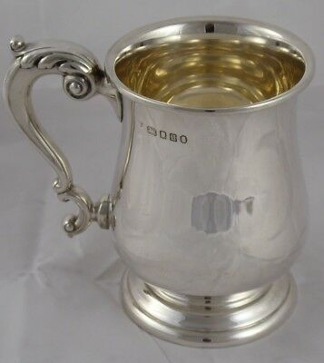 QUALITY GOLDSMITHS SOLID STERLING SILVER PINT MUG TANKARD GEORGE III STYLE 367 g