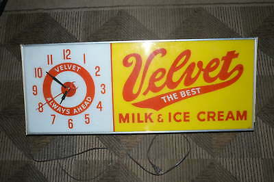 """Velvet Milk And Ice Cream Lighted Hanging Display Advertising Sign 37.5"""" X 15"""""""