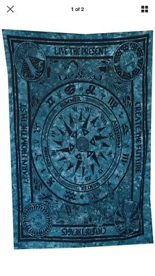 Zodiac Cycle Of The Ages Tie Dye Blue Large Tapestry