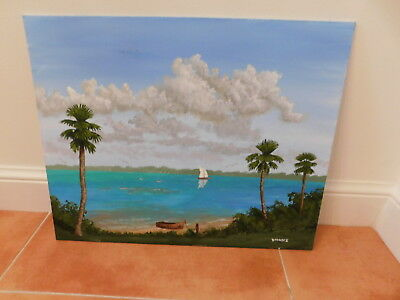 "REDUCED Florida River Lagoon Painting - Florida Landscape - 16"" x 20"""