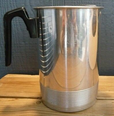 Vintage 60's Aluminum Beverage Pitcher Plastic Handle Ribbed Base -Light Weight