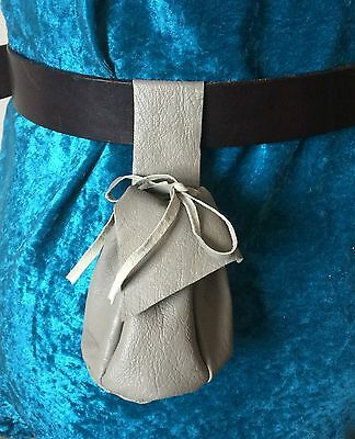 Grey leather drawstring belt pouch coin purse mediaeval renactment LARP SCA A