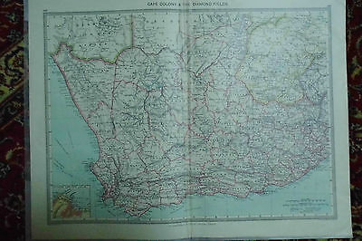 Cape Colony Diamond Fields Antique MAP London Geographic Institute c1910