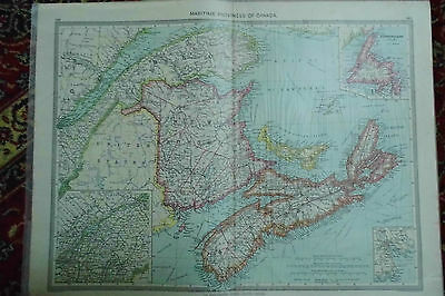 Map Canada Maritime Provinces Edwardian Map London Geographic c1910