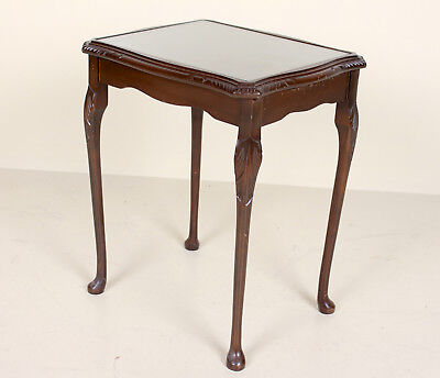 Antique Vintage Side Table Glass Flamed Mahogany Console Lamp Table