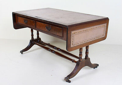 Antique Vintage Sofa Table Drop Leaf Folding Console Table Leather Mahogany