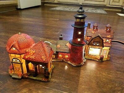 Christmas Village 3-Piece Light-Up Set harvest house light house and market
