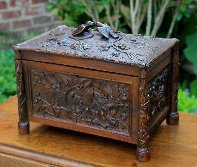 Antique French Highly Carved Oak BLACK FOREST Jewelry Box Vanity  BIRDS FS