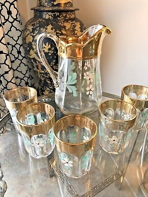 Victorian Glass Pitcher & 5 Glasses Enameled Floral Clear, Gold Must SEE !!!