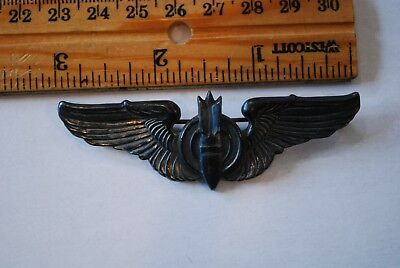 "Wwii Era Us Army Air Corp Bombardier Wings - 3"" - Sterling - Pin"