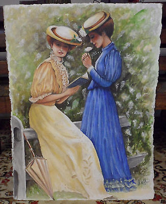 Antique Vintage Watercolor Painting Portrait French Edwardian Women Signed OBO