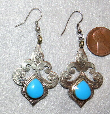 Earrings Turkoman Etched Silver Turquoise Sterling Ear Wires