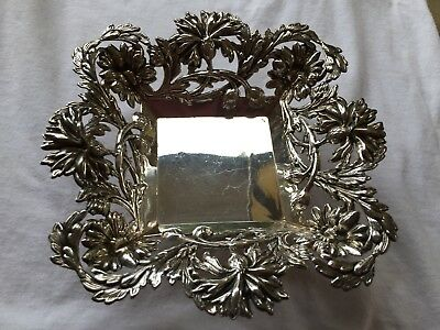 Antique 925 Sterling Silver Square Open Work Footed Bowl NO mono +/-180 Grams