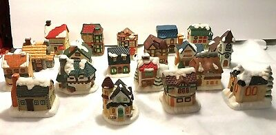 Lot Of 19 Vintage Porcelain Christmas Village House Tree Ornaments Light Covers