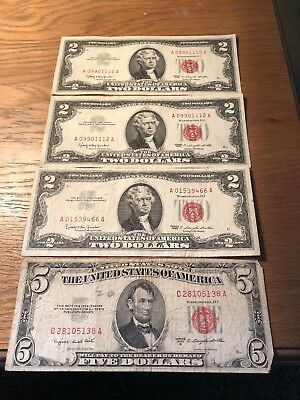Lot Of 4 Red Seal Notes $2 & $5