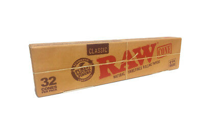 Bulk Pack of 32 RAW 1.25 1 1/4 Size Classic Pre-Rolled Cones~New In Box