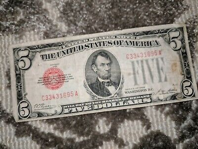 1928-F $5 Five Dollar United States Note Bill * Red Seal * Circulated