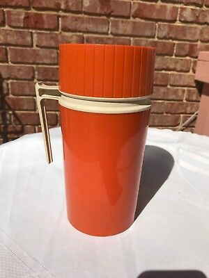 Vintage 70s THERMOS Orange Insulated Travel Mug Cup Tumbler Collectible