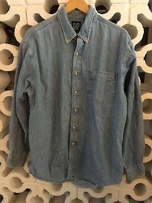 Vintage GAP Sanforized Blue Denim Button Up Shirt Size L Large