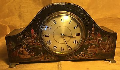 Antique French CHINOISERIE CLOCK w Embossed & Painted Village Scenes +Brass Feet