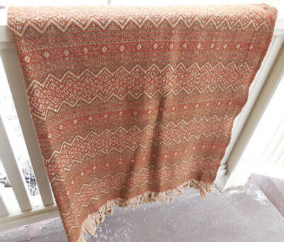 Amana woolen mills vintage rust & tan reversible wool blanket throw with fringe