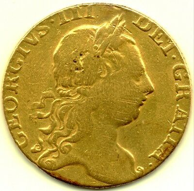 ☆RARE DATE☆ 1767 KING GEORGE III FULL 22CT GOLD GUINEA COIN BRITISH MILLED 8.4g