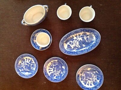 BLUE WILLOW CHINA - Vintage CHILDS TEA SET OVAL PLATTER 9 Pieces Made in Japan